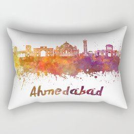 Ahmedabad skyline in watercolor Rectangular Pillow