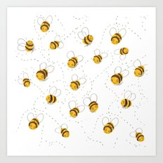 Busy buzzy bees Art Print
