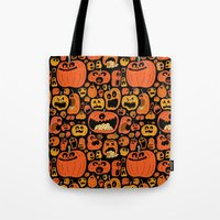 Tote Bags featuring Pumpkin Pattern by Chris Piascik