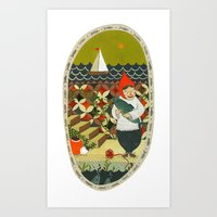 fishing Art Prints featuring Fishing by Bex Bourne