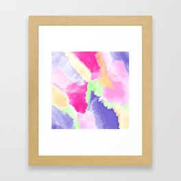 Modern bright pink purple green hand painted watercolor wash pattern Framed Art Print