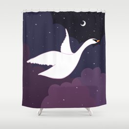 Follow the Pretty Bird Across the Sky Shower Curtain