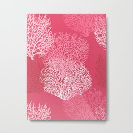 Fan Coral Print, Shades of Coral Pink Metal Print