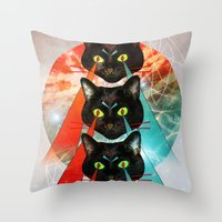 hippy Throw Pillows featuring Hippy Cats by Lauren Miller