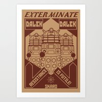 propaganda Art Prints featuring Dalek propaganda by Buby87