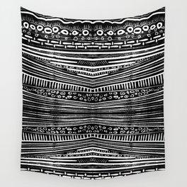 Linocut Tribal Pattern Wall Tapestry