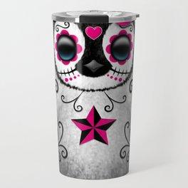 Pink Day of the Dead Sugar Skull Penguin Travel Mug