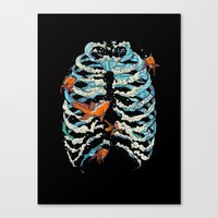 huebucket Canvas Prints featuring FISH BONE  by Huebucket