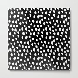 Handdrawn drops and dots on black - Mix & Match with Simplicty of life Metal Print