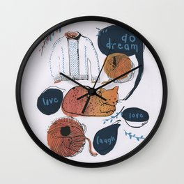 Cat in sunset Wall Clock