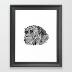 Chimp with a Pearl Earring Framed Art Print