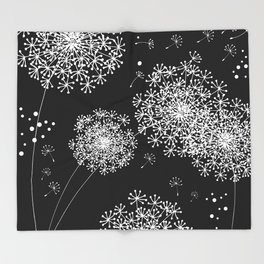 DANDELION SNOWFLAKE BLACK Throw Blanket