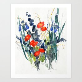 Eucalyptus & Iris with Vermillion Art Print