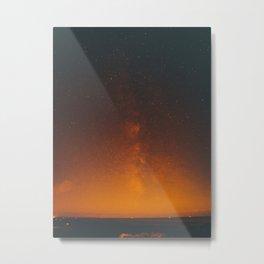 Vintage Sepia Sunset Night Sky Stars Landscape At Night Metal Print