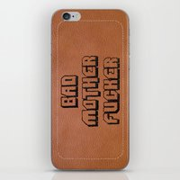 wallet iPhone & iPod Skins featuring Bad Motherfucker iPhone case by Nicklas Gustafsson