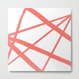 Living Coral Open Star Geometric Abstract on White Metal Print