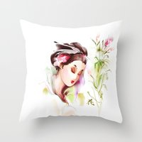 japanese Throw Pillows featuring Japanese by tatiana-teni