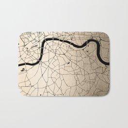 London Gold on Black Street Map II Bath Mat
