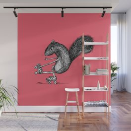 Ride On Squirrel_pink Wall Mural