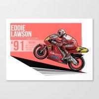 nan lawson Canvas Prints featuring Eddie Lawson - 1991 Misano by Evan DeCiren