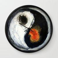 yin yang Wall Clocks featuring Yin Yang by Liz Moran