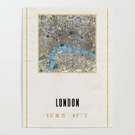 Vintage London Gold Foil Location Coordinates with map Poster