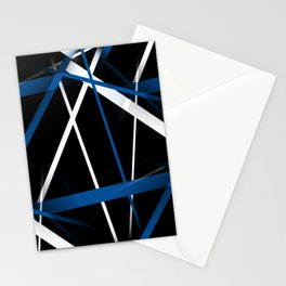 Seamless Blue and White Stripes on A Black Background Stationery Cards