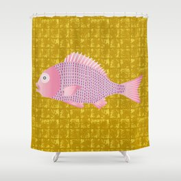 Snapper on Gold-leaf Screen Shower Curtain