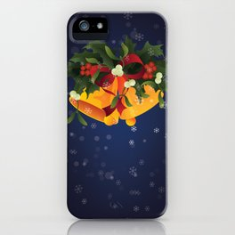 Christmas jingle bells with mistletoe and holly berry iPhone Case