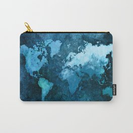 world map blue #map #world Carry-All Pouch