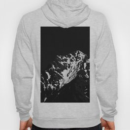 Minimalistic black and white snow covered mountain Hoody