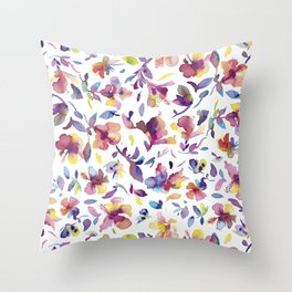 watery hibiscus flowers - Multicolored tropical pattern Throw Pillow