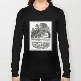 SEASIDE ARCH, BISHOP PINE, AND DRIFTWOOD VINTAGE PEN DRAWING Long Sleeve T-shirt