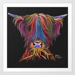 Scottish Highland Cow ' MUNCH MUNCH ' by Shirley MacArthur Art Print