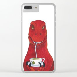 Sir Timothy the Tea Rex Clear iPhone Case