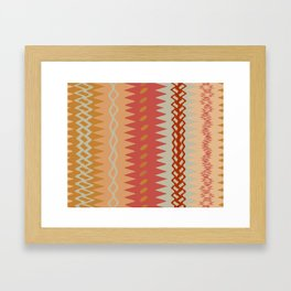 Assorted Zigzags And Waves Sienna Peach Grey Framed Art Print