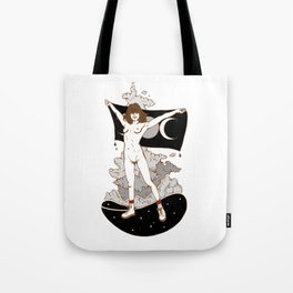 Goddess Stance Between Space & Earth Tote Bag