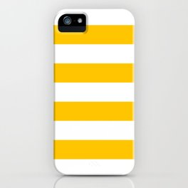 Aspen Gold Yellow and White Wide Horizontal Cabana Tent Stripe iPhone Case