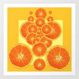 CONTEMPORARY ORANGE SLICES  ABSTRACT MODERN ART Art Print