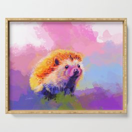 Sweet Hedgehog, cute pink and purple animal painting Serving Tray