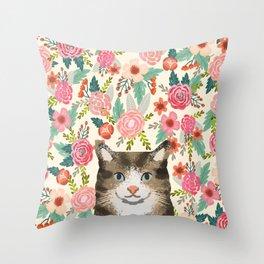 Cat floral pet portrait tabby cats Throw Pillow