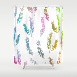 Rainbow Colored Feather Pattern Shower Curtain