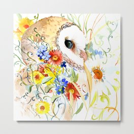 Barn Owl and Flowers, Owl Floral design Owl art Metal Print