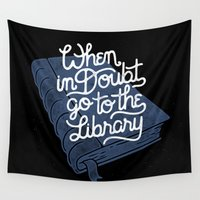hermione Wall Tapestries featuring Library by WEAREYAWN