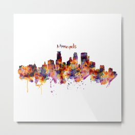 Minneapolis Watercolor Skyline Metal Print
