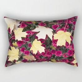 flowers, flowers, flowers, autumn, red and yellow, white and orange, flowers with a blurred backgrou Rectangular Pillow