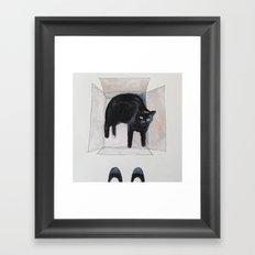 black cat box Framed Art Print