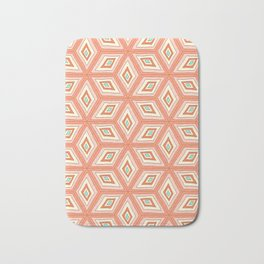 Living Coral Tilted Cubes Pattern Bath Mat