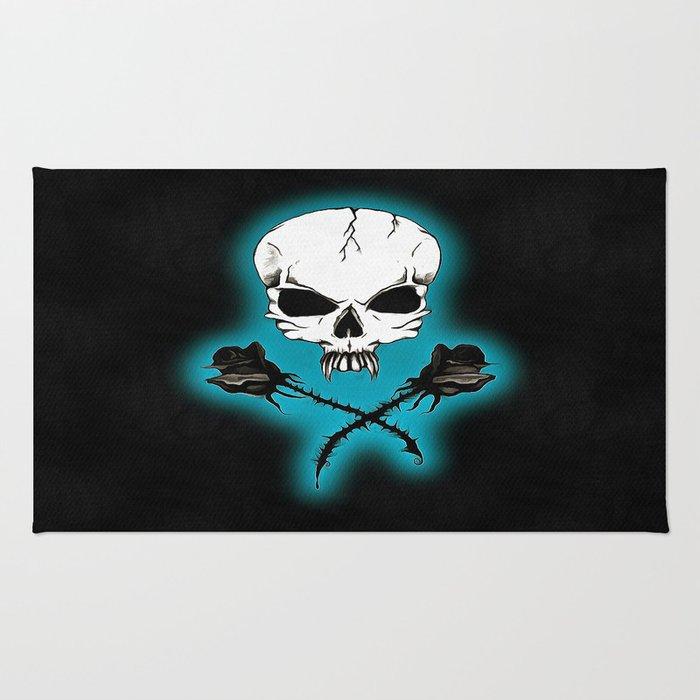 Skull & Black Roses Rug