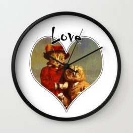 Owl And Pussy Cat Love Heart Design Wall Clock